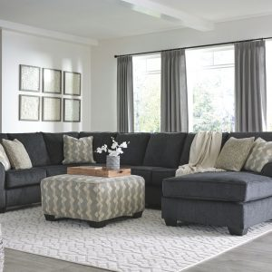 Eltmann - Slate - LAF Sofa with Corner Wedge, Armless Loveseat, Armless Chair & RAF Corner Chaise Sectional