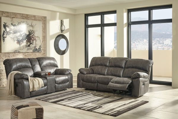 Dunwell - Steel - PWR REC Sofa with ADJ HDRST & PWR REC Loveseat with CON/ADJ HDRST