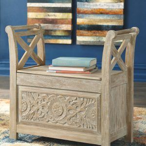 Fossil Ridge - Whitewash - Accent Bench