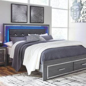 Lodanna - Gray - King Panel Bed with Storage
