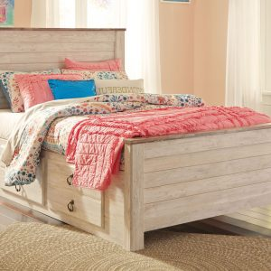Willowton - Whitewash - Full Panel Bed with Storage