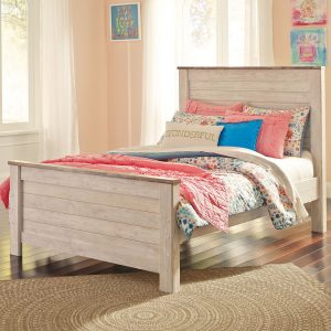 Willowton - Whitewash - Full Panel Bed
