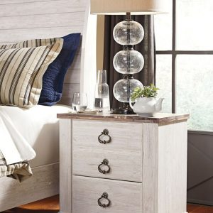 Willowton - Two-tone - Two Drawer Night Stand