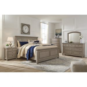 Lettner - Light Gray - King Panel Bed
