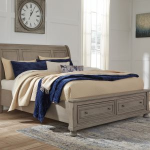 Lettner - Light Gray - King Sleigh Bed with Storage