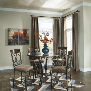 Glambrey - Brown - 5 Pc. - Round DRM Counter Table & 4 Barstools