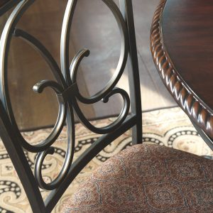 Glambrey - Brown - 5 Pc. - Round DRM Table & 4 UPH Side Chairs 1