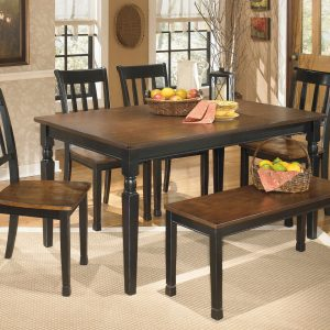 Owingsville - Black/Brown - 6 Pc. - RECT DRM Table