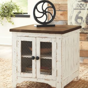 Wystfield - White/Brown - Rectangular End Table