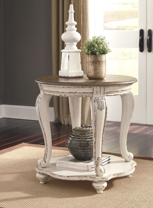 Realyn - White/Brown - Round End Table