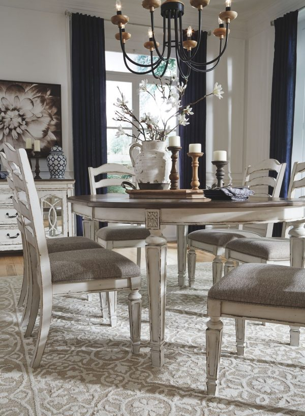 Realyn - Chipped White - 7 Pc. - Oval DRM EXT Table & 6 UPH Side Chairs