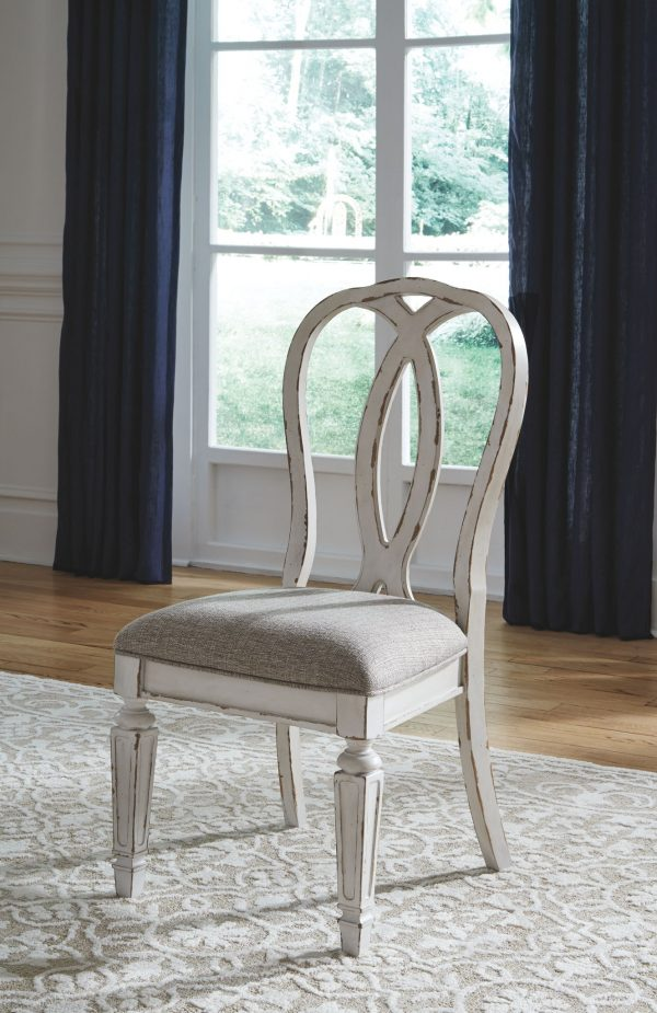 Realyn - Chipped White - 5 Pc. - Oval DRM EXT Table & 4 UPH Side Chairs 1