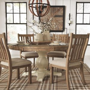Grindleburg - Light Brown - 6 Pc. - Round DRM Table & 4 UPH Side Chairs 1
