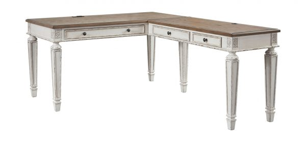 Realyn - White/Brown - Home Office L Shaped Desk