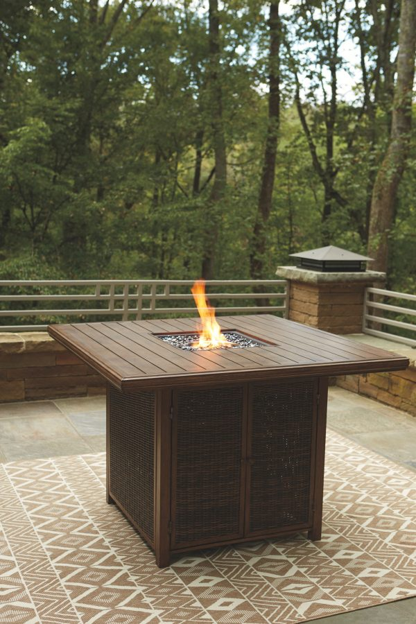 Paradise Trail - Medium Brown - Fire Pit Table & 8 Barstools 1