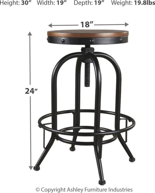 Valebeck - Brown/Black - Tall Swivel Barstool (2/CN) 1