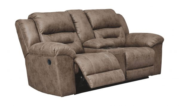 Stoneland - Fossil - DBL Rec Loveseat w/Console