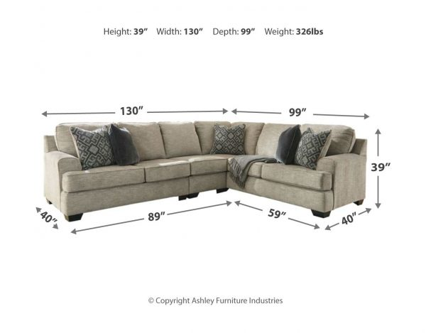 Bovarian - Stone - LAF Loveseat, Armless Chair & RAF Sofa with Corner Wedge Sectional 1