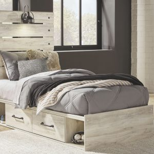 Cambeck - Whitewash - Twin Panel Bed with Side Storage