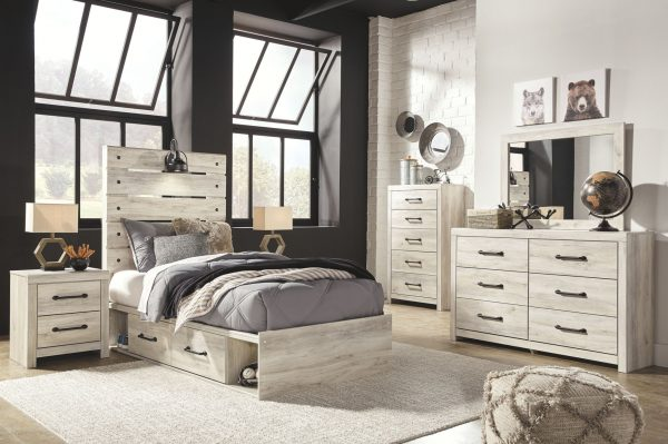 Cambeck - Whitewash - Twin Panel Bed with 2 Storages 1