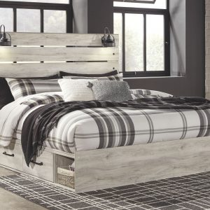 Cambeck - Whitewash - King Panel Bed with Side Storage