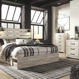 Cambeck - Whitewash - King Panel Bed with 2 Storages 1