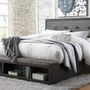 Hyndell - Dark Brown - Queen UPH Panel Bed with Storage