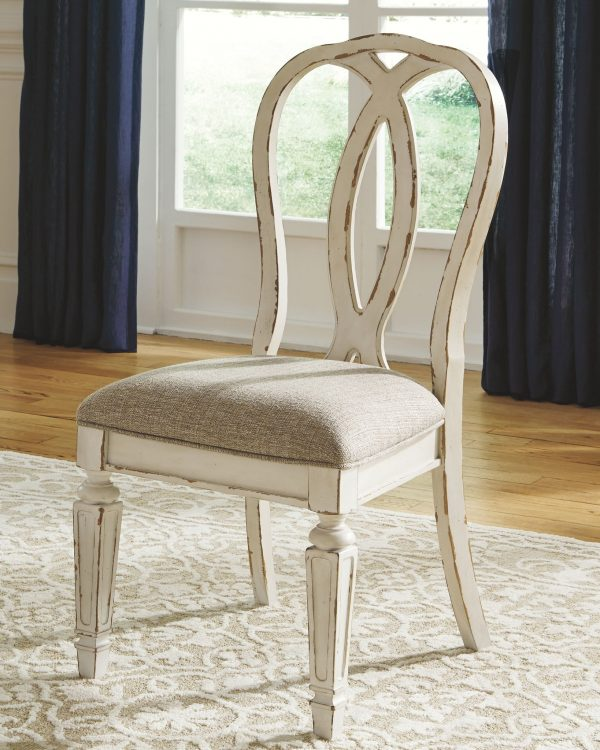 Realyn - Chipped White - 8 Pc. - Oval DRM EXT Table, 6 UPH Side Chairs & DRM Server 4
