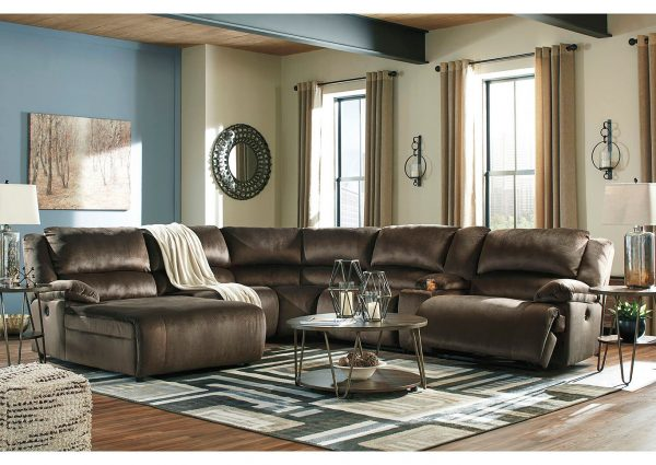 Clonmel - Chocolate - LAF Press Back Chaise, Armless Chair, Wedge, Armless Recliner & RAF Zero Wall Recliner Sectional 1