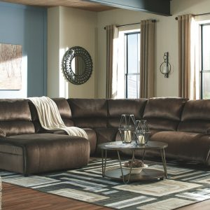 Clonmel - Chocolate - LAF Press Back PWR Chaise, Armless Chair, Wedge, Armless Recliner & RAF Zero Wall PWR Recliner Sectional 1