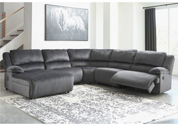 Clonmel - Charcoal - LAF Press Back Chaise, Armless Chair, Wedge, Armless Recliner & RAF Zero Wall Recliner Sectional