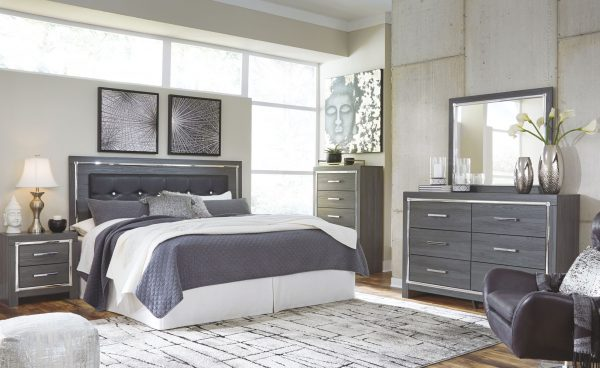 Lodanna - Gray - King UPH Panel HDBD with Bolt on Bed Frame 1