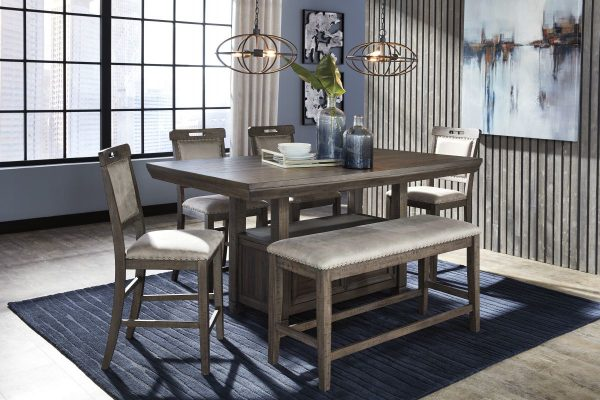 Johurst - Grayish Brown 6 Pc. - RECT Dining Room Counter Table, 4 UPH Barstools & UPH Bench