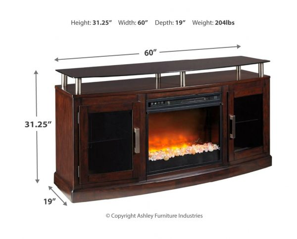 Chanceen - Dark Brown - 60 TV Stand with Electric Fireplace 3