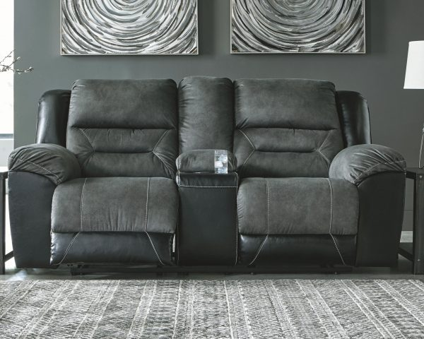 Earhart - Slate - REC Sofa & DBL REC Loveseat with Console 2