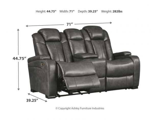 Turbulance - Quarry - PWR REC Sofa with ADJ HDRST & PWR REC Loveseat with CON/ADJ HDRST 2