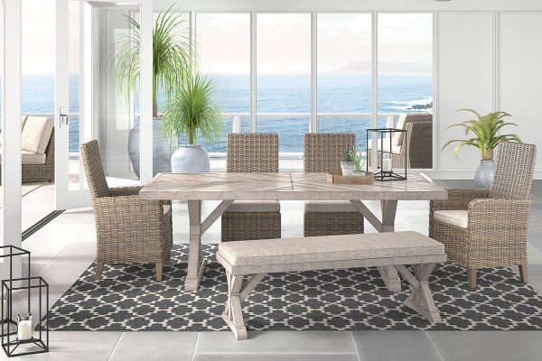 Beachcroft - Beige - Dining Set with Bench & Chairs