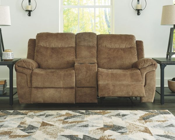 Huddle-Up - Nutmeg - REC Sofa with Drop Down Table & DBL REC Loveseat with Console 2