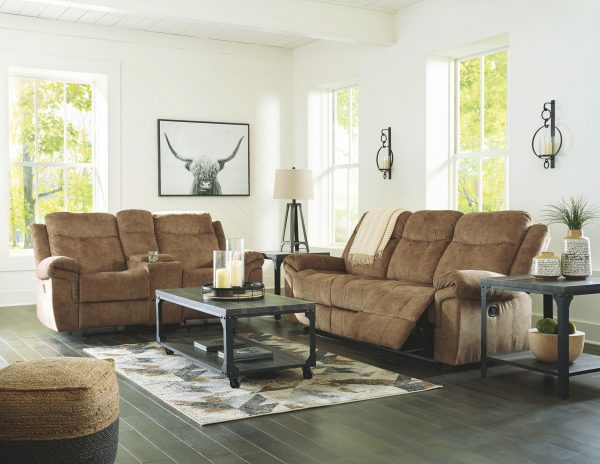 Huddle-Up - Nutmeg - REC Sofa with Drop Down Table & DBL REC Loveseat with Console 3