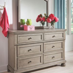 Lettner - Light Gray - Dresser & Mirror