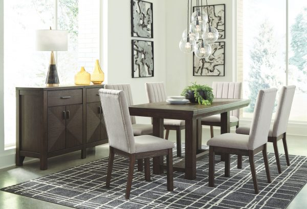 Dellbeck - Brown - 7 Pc. - RECT DRM EXT Table & 6 Side Chairs