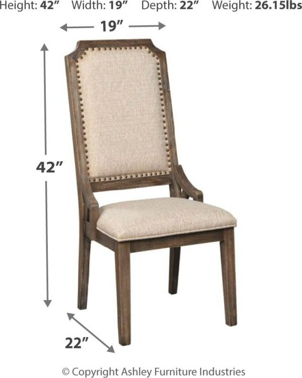 "Wyndahl - Rustic Brown - Dining UPH Side Chair (2/CN) 19.63""W x 24.13""D x 42""H - 39.0 lbs Wyndahl - Rustic Brown - Dining UPH Side Chair (2/CN) 19.75""W x 22""D x 41.75""H - 38.0 lbs Wyndahl - Rustic Brown - RECT DRM Extension Table Base 29.75""W x 50.75""D x 25.63""H - 66.0 lbs Wyndahl - Rustic Brown - RECT DRM Extension Table Top 48""W x 103.25""D x 2.75""H - 180.0 lbs Rustic lodge styling. Constructed with pine solids and veneers. Distressed aged pine color finish with light wire brushed texture. Thick edge extension table top sits on sturdy double pedestal base and can seat 6-8. Gathering height table with storage base can seat 6. D813-01 bent slat dining chair with cushion seat in a textured beige fabric. D813-02 upholstered back chair features solid wood frame with nail head trim. Upholstered back counter stools with matching fabric and backless stool available. 6"