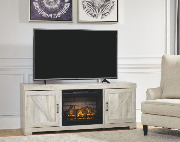 Bellaby - Whitewash - LG TV Stand with Fireplace Insert Infrared