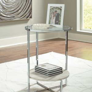 Bodalli - Ivory/Chrome - Round End Table