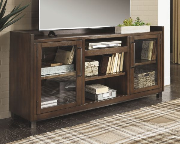 Starmore - Brown - Entertainment Center - XL TV Stand & 2 Piers with Fireplace Insert Infrared 1