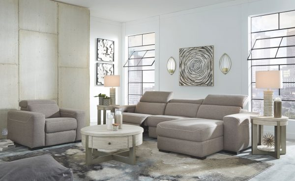 Mabton - Gray - LAF Zero Wall PWR Recliner, Armless Chair & RAF Press Back PWR Chaise Sectional 2