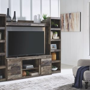 Derekson - Multi Gray - Entertainment Center - LG TV Stand, 2 Piers & Bridge