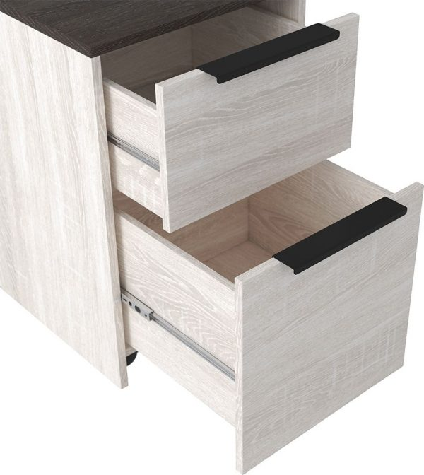 Dorrinson - Two-tone - Desk, File Cabinet & Swivel Desk Chair 3