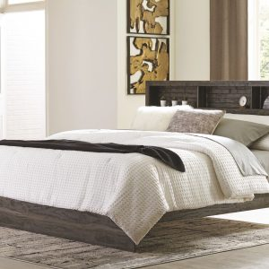 Vay Bay - Charcoal - King Bookcase Panel Bed