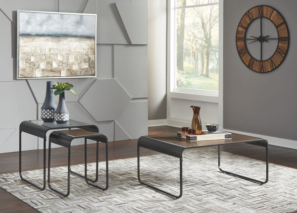 Larzeny - Brown/Black - Occasional Table Set (3/CN)